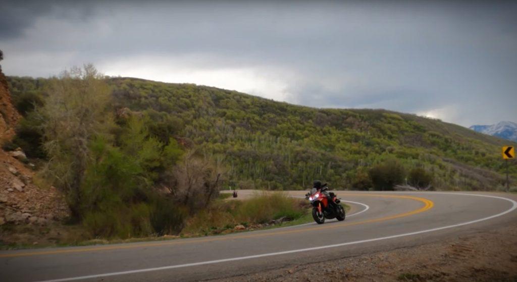 Street motorcycle ducati multistrada in a corner